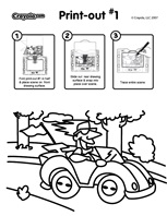Driving coloring page