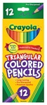 12 Full Size Triangular Colored Pencils