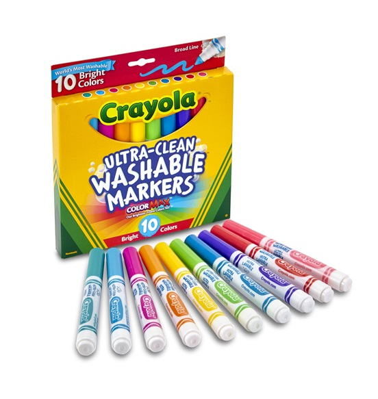10 Ultra Clean Washable Broad Line Markers Bright Colors