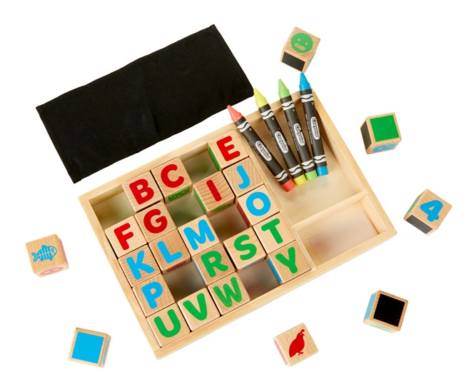 Alphabet color and play blocks open