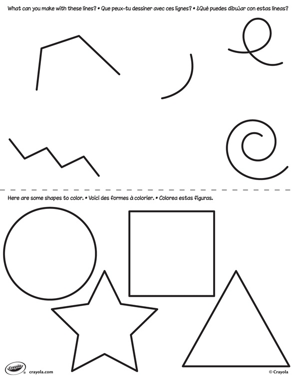 Lines And Shapes : First pages lines and shapes crayola