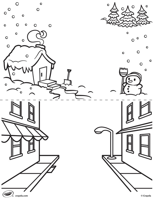 Winter coloring pages crayola back
