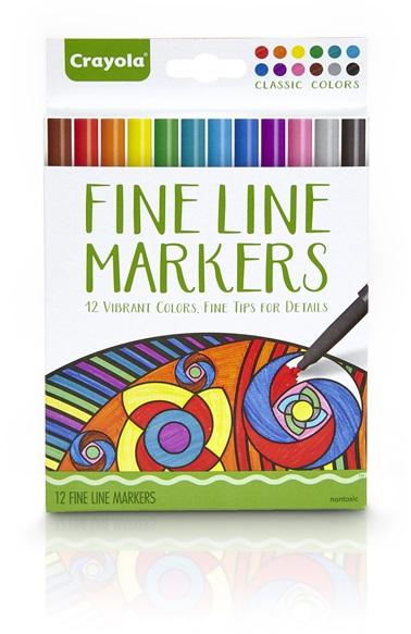 Adult Coloring 12 Fine Line Markers Classic Colors   crayola.com.au