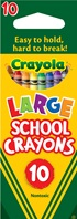 10 large school crayons