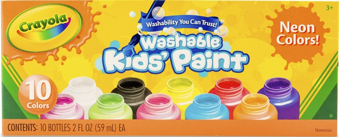 10 Bottles Washable Kids Paint Neon Colors | crayola.com.au
